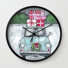 Vintage Car in the Snow painting Wall Clock