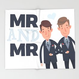 Mr and Mr gay wedding Throw Blanket