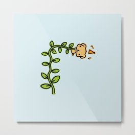 Puppy and beanstalk Metal Print