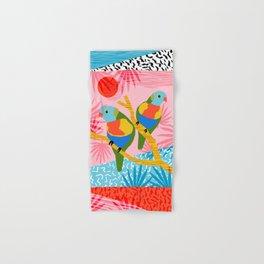 Besties - retro throwback memphis bird art pattern bright neon pop art abstract 1980s 80s style mini Hand & Bath Towel