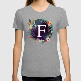 Personalized Monogram Initial Letter F Floral Wreath Artwork T-shirt