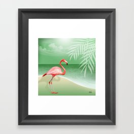 FLAMINGO BEACH   jade Framed Art Print