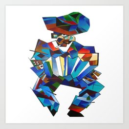Accordion Player In Cubist Style Art Print