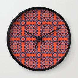 Diamond Bugs Pattern - Lapis Blue and Flame Wall Clock