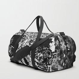 skull on gravestone splatter watercolor black white Duffle Bag
