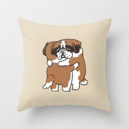 St. Bernard hugs Throw Pillow