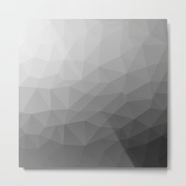 Grey Gradient Geometric Mesh Pattern Metal Print