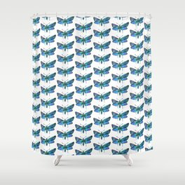 blue butterflies pattern Shower Curtain