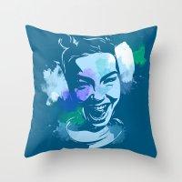 bjork Throw Pillows featuring Bjork by BIG Colours