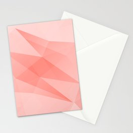 Pantone Living Coral Color of the Year 2019 on Abstract Geometric Shape Pattern Stationery Cards