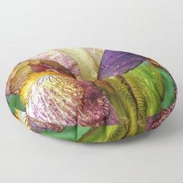 Iris With Raindrops Floor Pillow