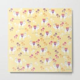 Cute Camel Print on Yellow Background Metal Print