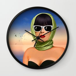 Lady goes on holiday Wall Clock