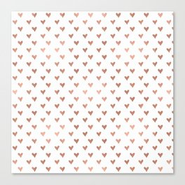 rose gold hearts Canvas Print