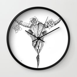 bull skull design for printed product Wall Clock