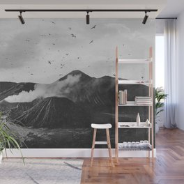 Birds Over Mount Bromo, Indonesia Black and White Wall Mural