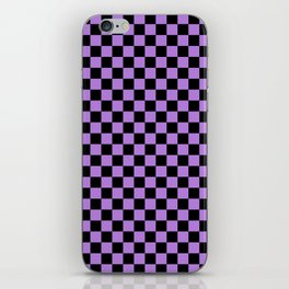 Black and Lavender Violet Checkerboard iPhone Skin