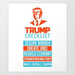 Trump Republican MAGA Checklist First Gift Art Print