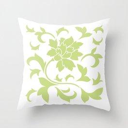 Oriental Flower - Daiquiri Green On White Background Throw Pillow