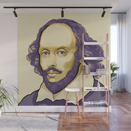 Shakespeare - royal purple and yellow Wall Mural