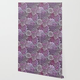 Stain Glass Floral Abstract - Purple-Lavender Wallpaper