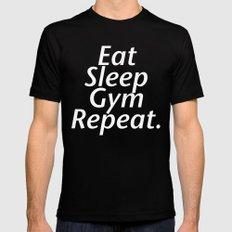 Eat Sleep Gym Repeat Mens Fitted Tee MEDIUM Black