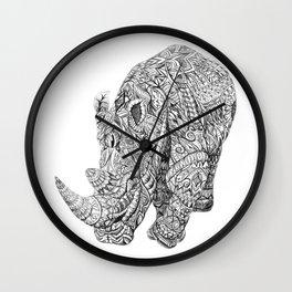 Aztec Rhino Art Wall Clock