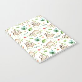 Modern hand painted green brown watercolor tropical floral sloth Notebook