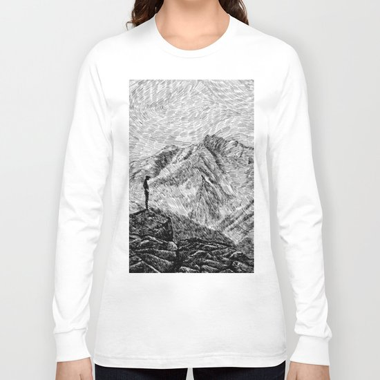 Child on the rock - Black ink Long Sleeve T-shirt