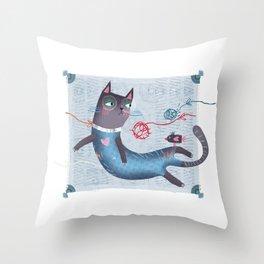 Blue-cat Throw Pillow