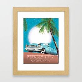Kern County California vintage style travel poster Framed Art Print