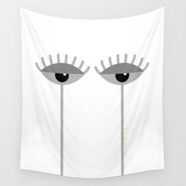 Unamused Eyes | Grey on White Wall Tapestry