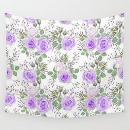 Purple Roses, Shabby Floral Wall Tapestry
