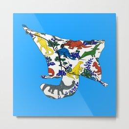 Flying Squirrel Dinosaur Blanket Metal Print