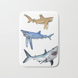 Mako Blue White Tip Sharks Bath Mat