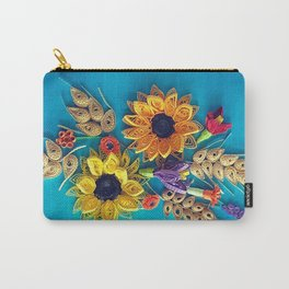 Sunflowers and wheat, quilled sunflowers and wheat on blue background Carry-All Pouch