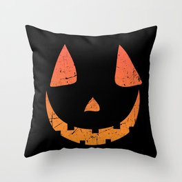 Pumpkin Face Halloween Costume Distressed Throw Pillow