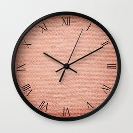 Sepia fuzzy knitted fabric textured abstract Wall Clock