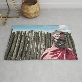 4117 Maasai Warrior Ngorongoro Tanzania Rug