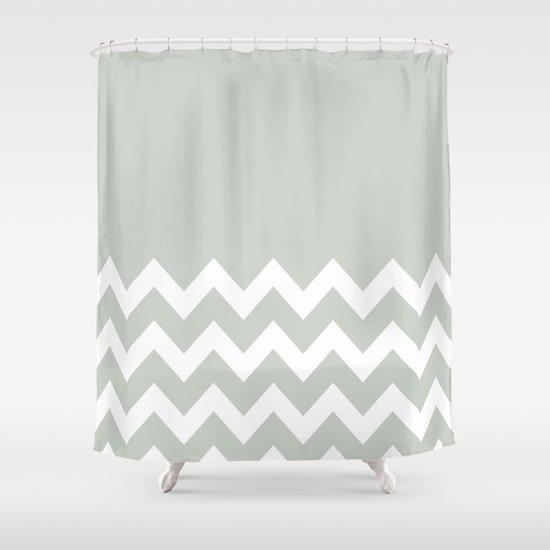 Chevron Colorblock Sea Salt Shower Curtain