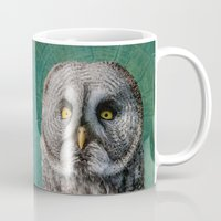 grey Mugs featuring GREY OWL by Catspaws