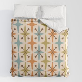 Mid Century Modern Abstract Star Pattern 441 Orange Brown Blue Olive Duvet Cover