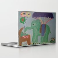 baby elephant Laptop & iPad Skins featuring Elephant with Baby Elephant by SBHarrison