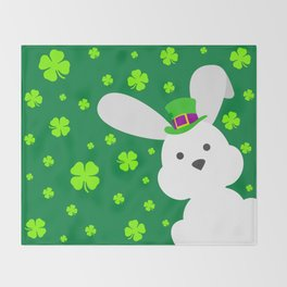 ST. PATRICK'S DAY BUNNY (abstract animals nature flowers happy irish, patricks) Throw Blanket