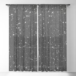 Glitter Stars2 - Silver Black Sheer Curtain
