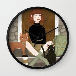 cats & coffee Wall Clock