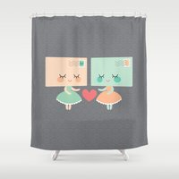 letters Shower Curtains featuring Love letters by Petits Pixels