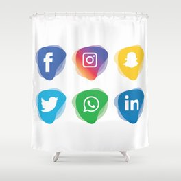 Social Media Whatsapp Instagram Facebook Snapchat Linkdn Twitter Shower Curtain