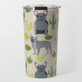Frenchie french bulldog grey cactus desert southwest dog breed by pet friendly Travel Mug