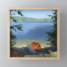canoe on shore Framed Mini Art Print